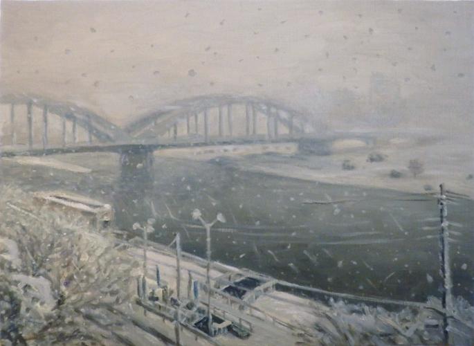 雪の丸子橋
