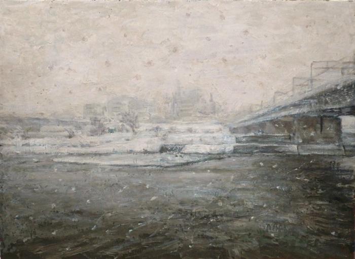 雪降る多摩川