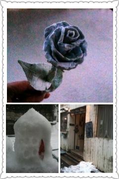 エコ紙漉きバラと雪とIMG_3851