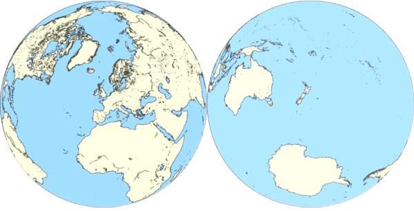 陸半球と水半球