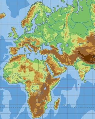 エラトステネスの世界地図・現代版