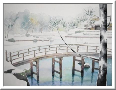 雪降る日本庭園