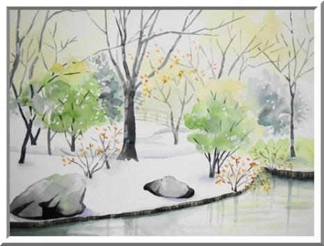 雪の日の日本庭園