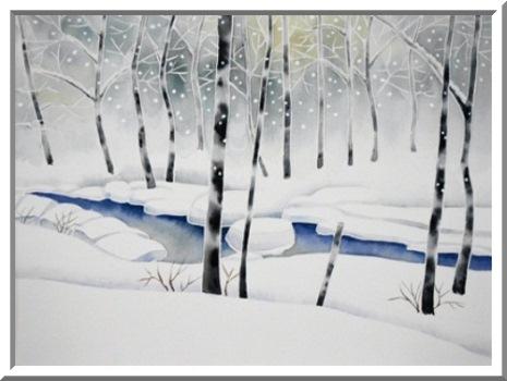 雪降る渓流