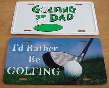 ゴルフモチーフのブリキ・プレート