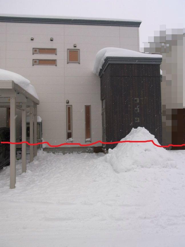 大雪 玄関 雪の量手書き