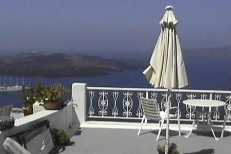 サントリーニ ホテルバルコニーからの眺め