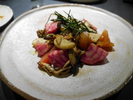 つぶ貝と冬野菜
