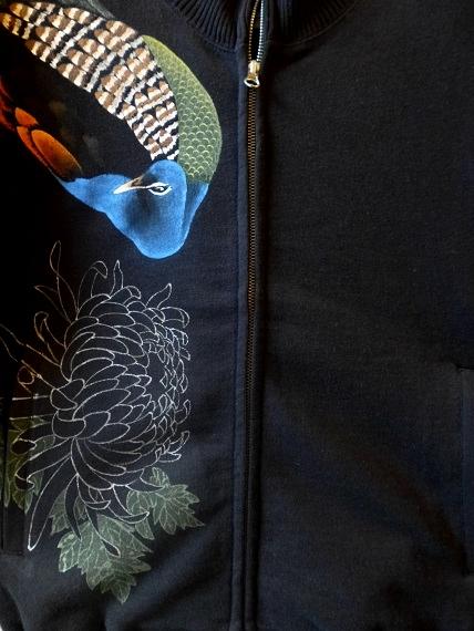手描きジップジャケット 孔雀と菊
