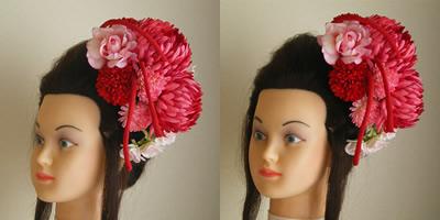 手毬菊とマムとダリアの成人式髪飾り