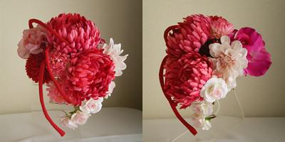 手毬菊とマムとローズの成人式髪飾り