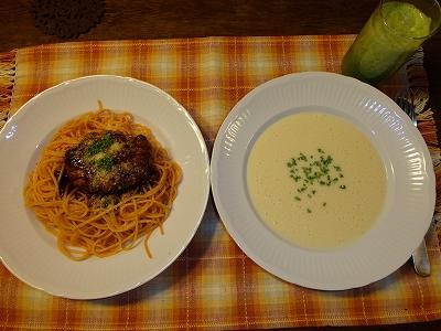 パスタ、ビシソワーズ、野菜ジュース
