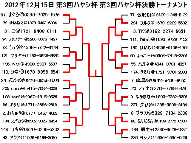 2012年12月15日第3回ハヤシ杯第3回ハヤシ杯決勝トーナメント