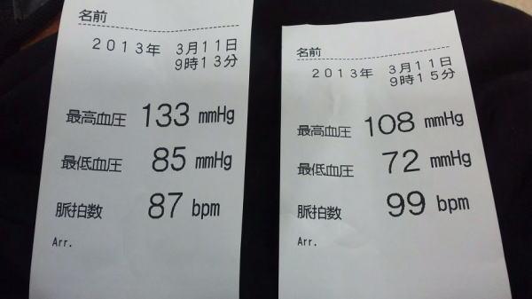 3月11日の血圧