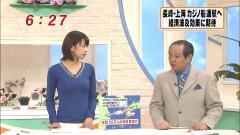 加藤綾子アナのおっぱいがニット・セーターで浮き出ている画像