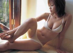 安田美沙子の極小水着から溢れる谷間画像