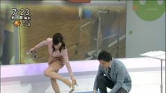 鈴木奈穂子アナがハイヒールを脱ぐ画像