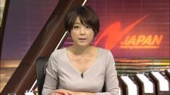 秋元優里アナの巨乳が腕に載っている画像
