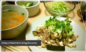 野菜たっぷり貝柱のスープ、やみつきキュウリ風、カニカマとキャベツのサラダ、茄子と豆腐の回鍋肉風。