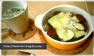 ま、まんま残りで朝御飯。ポテトとなすの自家製ミートソースグラタン、ほうれん草のミルクスープ。