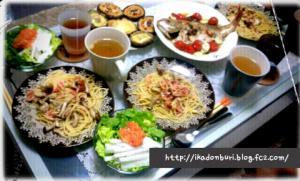 鯛のアクアパッツァ、焼き椎茸、白菜サラダ(人参塩麹ドレッシング)、桜エビとしめじのパスタ(アクアパッツァの煮汁でw)