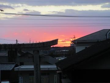 神社で日の出