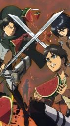 5yandre 269859 eren_jaeger levi_(shingeki_no_kyojin) mikasa_ackerman sera_yuuko shingeki_no_kyojin sword