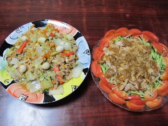 棒棒鶏,八宝菜