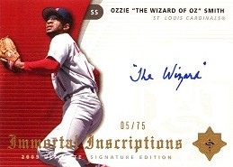 2005 Ultimate Signature Immortal Inscriptions Ozzie The Wizard Smith