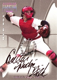 2001 Donruss Signature Notable Nicknames Carlton Pudge Fisk