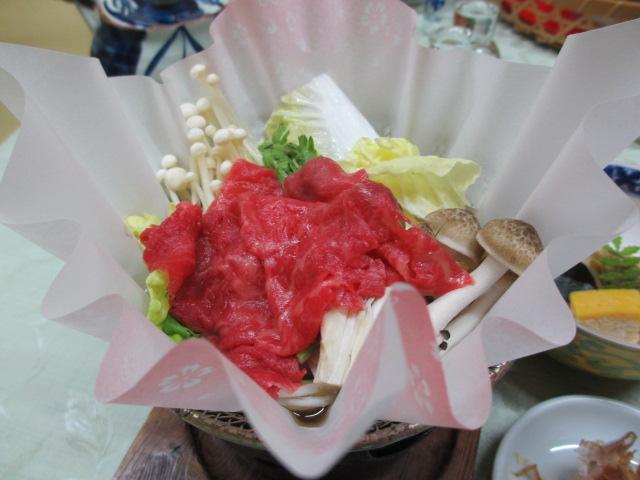 温泉民宿こぶち 夕食(熊野牛の小鍋)