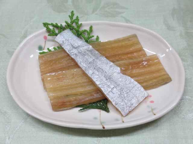 温泉民宿こぶち 朝食(太刀魚の干物)