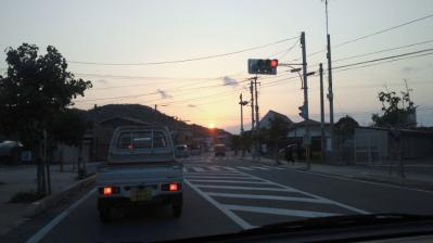 町中の夕日2