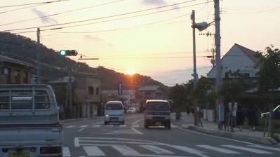 町中の夕日3