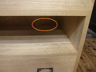 桐たんす、棚板の空気孔