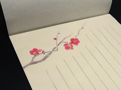 越前産鳥の子紙便箋(柄・紅梅)