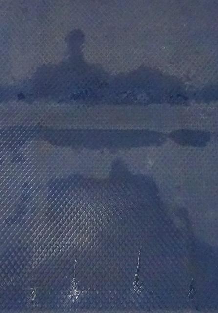 台車にできた濡れ模様