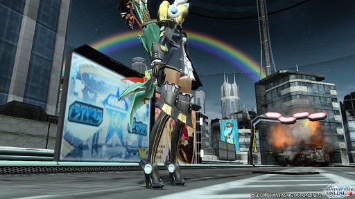 市街地の虹