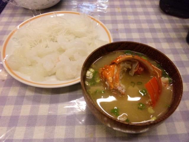 お刺身と味噌汁