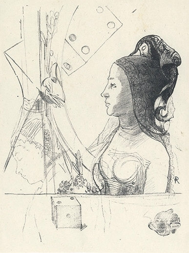 ODILON REDON Femme de Profil. Lithograph, 1900