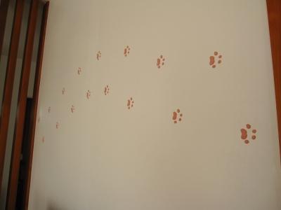 漆喰の壁に健ちゃんの足型が!