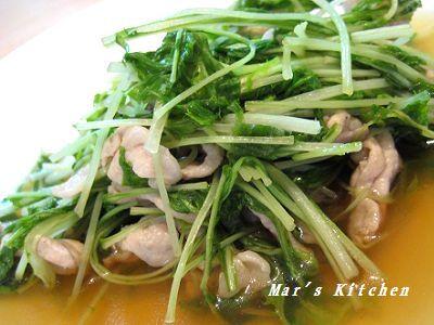 8-6 水菜と豚肉の炒め物