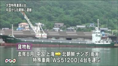 615 去年8月、弾道ミサイルの発射台を兼ねたとみられる大型の特殊車両4台が、中国から北朝鮮に貨物船で運ばれていたことが