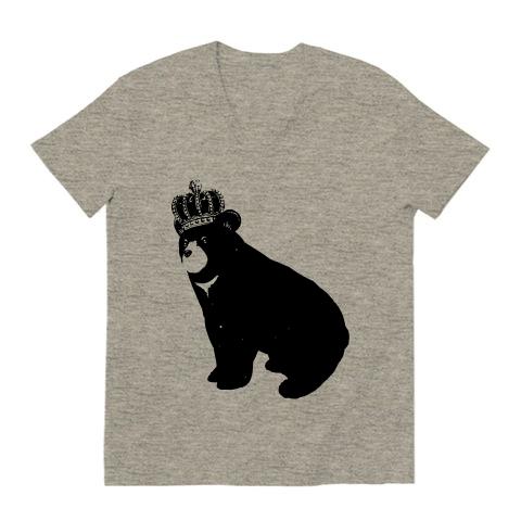 熊と王冠_vネックtシャツ
