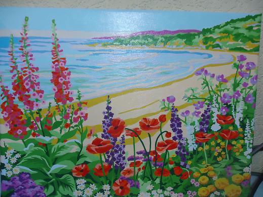 イシククル湖と花