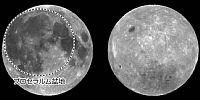 暗く見える「海」の多い月の表(左)と、白く見える「高地」が多い裏。地球に向いた「表」にある点線で囲まれた大きな円の内側が、巨大衝突の痕跡とみられるプロセラルム盆地(中村研究グループ長提供)