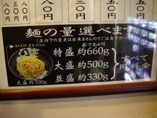 越後 つけ麺 維新 麺量