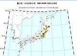 日本全国の震央分布図