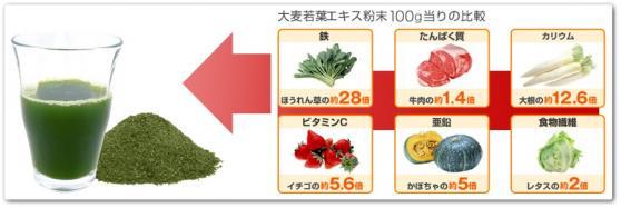 大麦若葉エキス粉末100g当りの比較