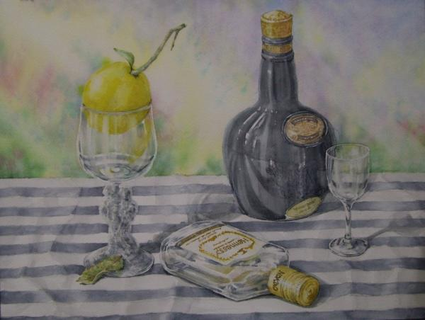 瓶とレモン